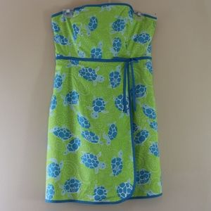 Lilly Pulitzer Strapless Corset Dress Turtles 4